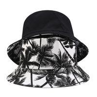 Moda Tuval Balıkçı Şapka Erkekler Ve Kadınlar Baskılı Hindistan Cevizi Palm Çift Taraflı Kova Şapka Unisex Açık Seyahat Güneşlik Caps