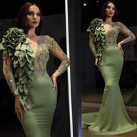 2021 Sexy Arabic Aso Ebi Mermaid Luxurious Prom Dresses Jewel Neck Illusion Crystal Beads With Flowers Women Special Occasion Evening Dress Long Sleeves Gowns