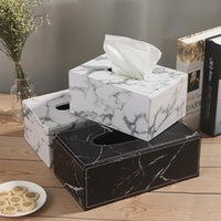 Modern Marble Rectangle Faux Leather Tissue Box Desktop Napkin Storage Container Kitchen Tray For Home Office Boxes & Napkins
