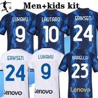 2021 2022 4th Barella Lautaro Inter Home 멀리 3 축구 유니폼 베어 마그 리아 20 21 축구 탑 셔츠 남성 소년 키즈 키트 세트 유니폼 세트