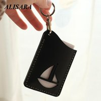 Card Holders Leather Lanyard Holder For Men Women ID 100% Handmade Purse First Layer Cowhide Boat Ocean