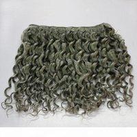 회색 컬러 딥 웨이브 브라질 인간의 머리카락 곱슬 300G 7A 브라질 곱슬 회색 머리 위사 묶음 확장