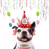 Dog Apparel TINGHAO Pet Birthday Hat Scarf Set Costume Cute Bandana Scarfs With Party Cone Supplies