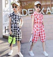 Летние девушки плед одежда комплекты детской рукавов рубашка + шорты 2 шт. Одежда для девочек-подростков 4 6 8 10 12 лет