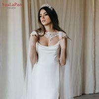 Youlapan G36 Hochzeits-Kap-Schleier-lange Hochzeitsjacke Spitze Applique-Womens Jacken 2021 Schal-Party für Hochzeit Braut Bolero