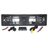 Webcams HD Retroview Camera Cámara Coche EUROPEA LICENCIA Frame Light 12 LED 170 Backup Reverse IR con 2 Sensor de estacionamiento