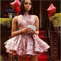 Glitter Short Dusty Rose Sequin Sexy Homecoming Dresses Halter Backless Puffy Black Girl Prom Dress Graduation Cocktail Party Gowns Special Occasion Wear