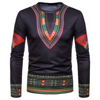 3d Printed Africa Clothing Mens Fashion African Clothes Traditional Casual Rrobe Africaine Hip Round Neck Long Sleeve T-shirts