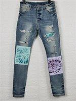 Neue Ankunft Herren Designer Jeans Dunkelschwarze Pinselfarbe Falten Mode Herren Jeans Slim Motorrad Biker Hip Hop Pants Top Qualität Größe 28-40