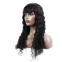 Water Wave Human Hair Full Machine Made Wig Virgin Remy Quality With Bangs No Lace Brazilian Malaysian 14-28inch