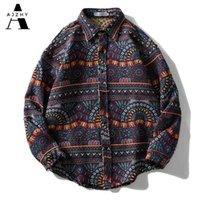 Айчжи вязаная полоса в полоску Национальный стиль рубашки ретро кнопка с длинным рукавом негабаритная зимняя уличная одежда хип-хоп Harajuku повседневная вершины Tees 210325