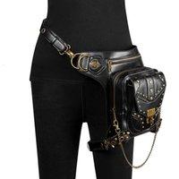 Black Motorbike Casual Waist Bag PU Faux Leather Backpack Retro Moto Tank Bags Motorcycle Outdoor Cycling Bag FBG093BK