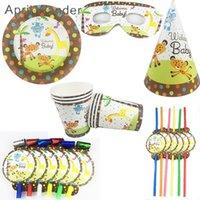 Tek kullanımlık yemek güzel leopar zürafa parti plakaları payet fincan orman hayvanlar sofra çocuklar için mutlu doğum günü malzemeleri