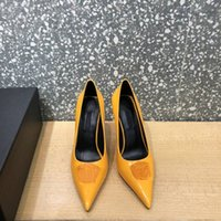 Elegant temperament new Dress Shoes fashion designer pointed high heels he els leather 9.5cm soles patent lea ther fash ion sandals size 35-42