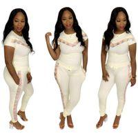 Frauen 2 stücke Designer Complable Kleidung Sets Mode Sport Casual Trainingsanzüge Pailletten Täfelende Frau Sommer Slim Anzug