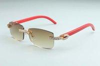 2021 Occhiali da braccio XL 3.0, occhiali da sole in legno rosso Diamond 3524012 Unisex, Lente di spessore naturale AUUVQ