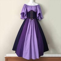 Casual Dresses Mode für Frauen Mittelalterliche Vintage Gothic Patchwork Spitze Sexy Slash Neck Kleid Vestido Navidad Mujer