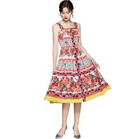 Casual Dresses Vestidos De Fiesta Sexy Dress 2021 Summer Women Backless Spaghetti Strap Floral-Print Buttons Diamond Elgant Party Midi