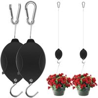 1 / 2pcs Pulley Pulley Hanger Retrattile Hanging Planter Flower Basket Pot Ganci Nero Und Sale Decorazioni da giardino