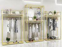 Gold Hanger men's and women's clothing store shelf Commercial Furniture clothes display rack floor type shelfs golden hangers cloth shop
