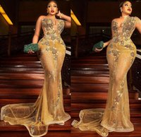 2021 Plus Size Arabic Aso Ebi Gold Luxurious Mermaid Prom Dresses Lace Beaded Sheer Neck Evening Formal Party Second Reception Gowns Dress ZJ704