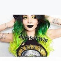 Lindo três tom preto ombre verde neon cor verde peruca sintética 360 lace perucas frontais beleza colorido cabelo perucas para moda mulher