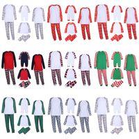 가족 아이 크리스마스 잠옷 소녀 소년 아이들을위한 세트 성인 homewear 빈 파자마 홈 DIY 엘크 스트라이프 인쇄 크리스마스 잠옷 일치하는 복장
