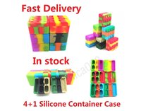 4+1 26ml Silicone Container Case Carriers Square Box Non-stick Block Boxs For Dab Wax Oil Dry Herb Silicon Storage Jar Smoking Tools DHL In stock