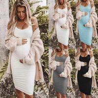 Frauenkleider Ärmellose Mutterschaft plus Größe Oansatz Sexy Bandage Schwangerschaftskleid Solide Weste-Riemen Casual
