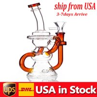 Premium Fumar agua Tubería de agua Big Recycler Glass Bong Hookah 10.5inch Altura Espesor Femenino Junto Percolator Dab Rig En stock Estados Unidos