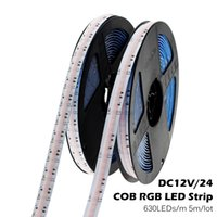 DC12V 24V RGB COB LED Strip 630leds / M Alta densidad Super brillante RA90 COB Flexible RGB LED Lights 5m / Lot