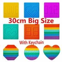 30cm !Super Large Size Fidget Toys Push It Rainbow Square Antistress Toy Bubble Figet Sensory Squishy Jouet Pour Autiste For Adult Kids Gift