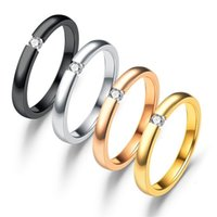 ring opening couple Fashion simple stainless steel micro inlaid with zircon