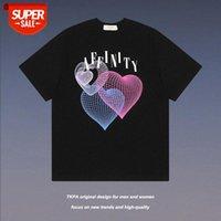TKPA 유럽 및 미국 하이 스트리트 어두운 바람 증기파 사랑 인쇄 반팔 티셔츠 남성 유행 브랜드 루스 BF COM # J54G