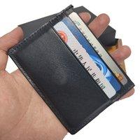 Titulaire de carte de style européen Mens Mini portefeuille Ultra-mince Cash Clip Soft Qualité Haute Qualité 6 Slots Artisanat allemand inclus