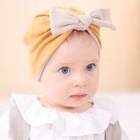 M378 Infant Baby Cotton Hat Bowknot Headwear Child Toddler Kids Beanies Contrast Color Turban Caps Children Autumn Winter Warm Hat