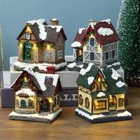 Statua della casa del villaggio della scena di natale con la calda luce a led batteria azionato inverno inverno neve paesaggio resina costruzione miniatura figurin H1020