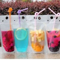 Transparent straw Drink Pouches Clear Beverage Bag Frosted Self Sealed Milk Coffee Juice Drinking Bags Plastic Portable