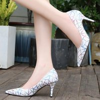 Dress Shoes Women Sexy High Heel Pumps Pointed Heels 7.5cm Brand Pattern Large Size 35-44 45 46 Stiletto Fashion For Ladies