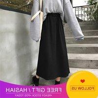 Korean Figure 2019 Autumn New Cotton Long Skirt Women's Solid Medium Long A-line Skirt High Waist Skirt