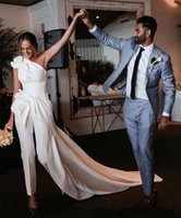 Pretty Jumpsuits Wedding Gowns Bridal Dresses Simple Satin Peplum Ruffle Ruched One Shoulder Bride Dress Court Train Pants