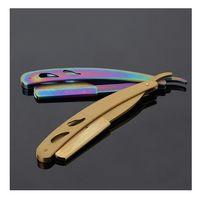 14x2cm Siyah Jilet Bıçakları Paslanmaz Erkekler Düz Berber Kenar Çelik Jilet Katlanır Tıraş Bıçağı Epilasyon Araçları