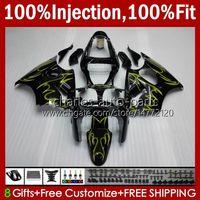 Stampo ad iniezione Bodys per Kawasaki Ninja 600CC ZZR600 05 06 07 08 Bodywork 38HC.19 100% Fit Fiamme gialle BLK ZZR-600 600 CC 05-08 ZZR 600 2005 2006 2007 2008 Kit carenatura OEM
