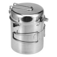 Camp Kitchen 1L Stainless Steel Cooking Kettle Portable Outdoor Camping Pot Pan With Foldable Handle Backpacking Hiking Picnic