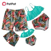 PatPat Summer Flounce Colorful Plant Print Matching Family Swimsuits Look Childen's Clothing 210521