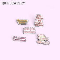 Pins, Brooches Novel Funny Quote Enamel Pins Badge Letters Dialog Cartoon Backpacks Lapel Pin Jewelry Gift For Friends Wholesale