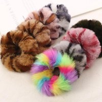 19 Colors Cute Elastic Hair Bands Girls Artificial Faux Fur Rubber Elastic Ring Rope Fluffy Tie Hair Accessories Furry Scrunchie Headband