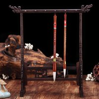 Chinese Traditional Calligraphy Holder 12 Hook Chicken-wing Wood Pen Hanger Brush Stand Rest Writing Painting Supplies