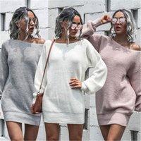 Женский фонарь рукав свитер платье мода тенденция с длинным рукавом без бретелек вязание свитер юбка дизайнер женское зима новое повседневная свободное платье