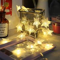 Cajas de almacenamiento bins led estrella luces de hadas operadas por batería twinkle string light cobre alambre navidad boda boda decoración cinco puntiagudo